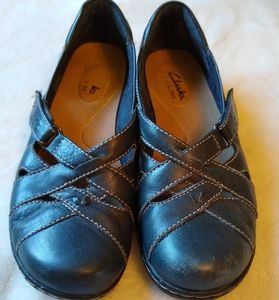 6M CLARKS Bendables Navy Ashland Spin Shoes